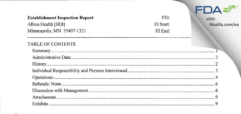 Allina Health [IRB] FDA inspection 483 Jul 2013