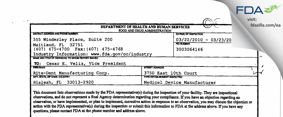 Rite-dent Manufacturing FDA inspection 483 Mar 2010