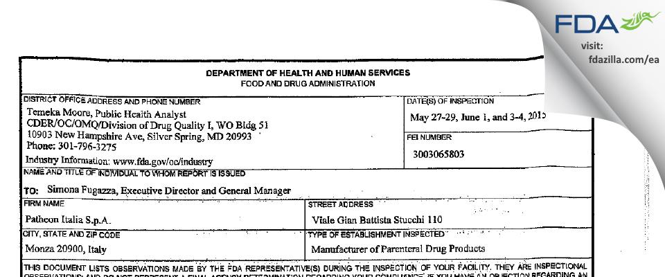Patheon Italia S.p.A. FDA inspection 483 Jun 2015