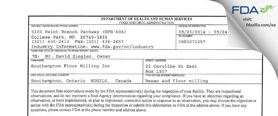 Southampton Flour Milling FDA inspection 483 Sep 2014