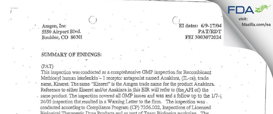 Amgen FDA inspection 483 Jun 2004