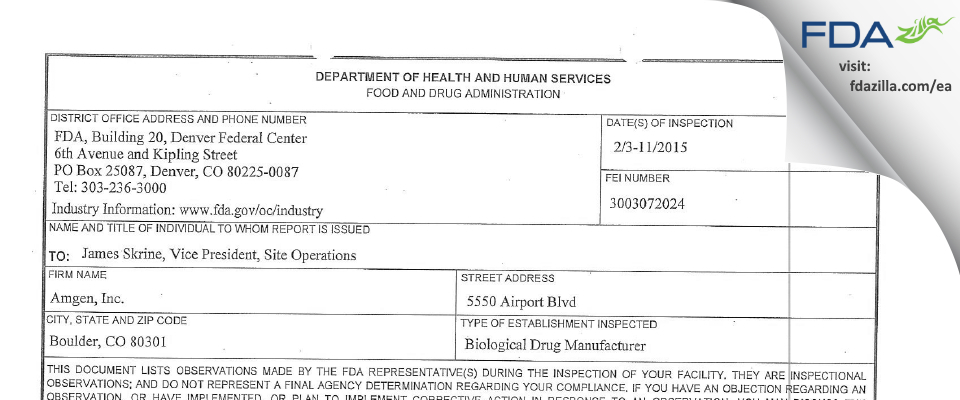 Amgen FDA inspection 483 Feb 2015