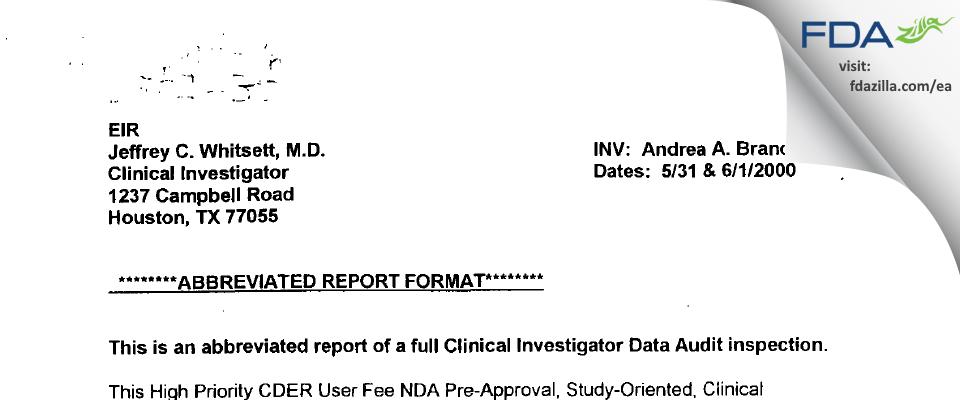 Jeffrey C Whitsett, MD/Clin Inv FDA inspection 483 Jun 2000