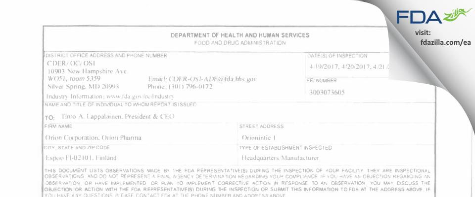 Orion FDA inspection 483 Apr 2017