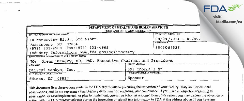 Daiichi Sankyo FDA inspection 483 Sep 2014
