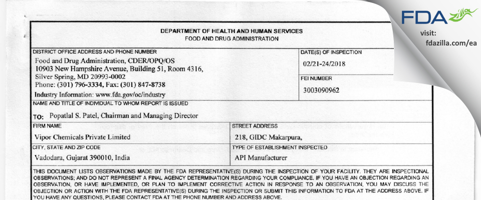 Vipor Chemicals Private FDA inspection 483 Feb 2018