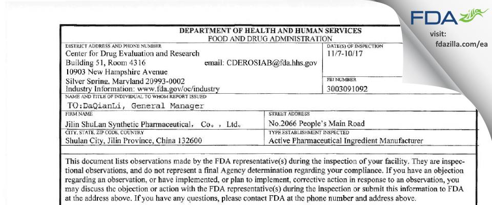 Jilin Shulan Synthetic Pharmaceutical FDA inspection 483 Nov 2017