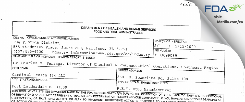 Cardinal Health 414 FDA inspection 483 May 2009