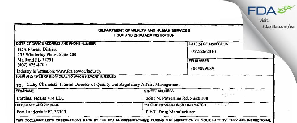 Cardinal Health 414 FDA inspection 483 Mar 2010