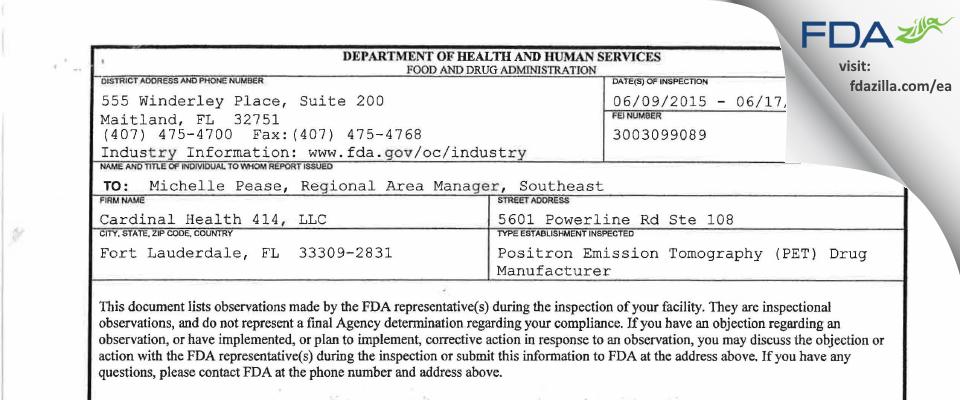 Cardinal Health 414 FDA inspection 483 Jun 2015