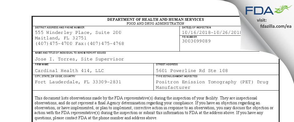 Cardinal Health 414 FDA inspection 483 Oct 2018
