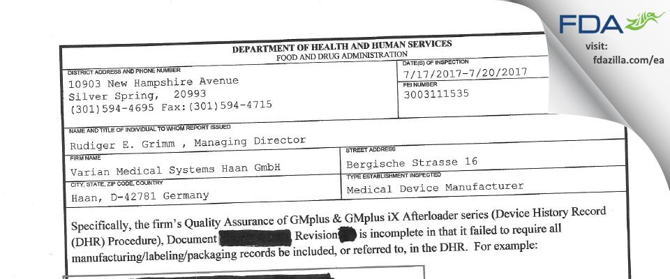 Varian Medical Systems Haan FDA inspection 483 Jul 2017