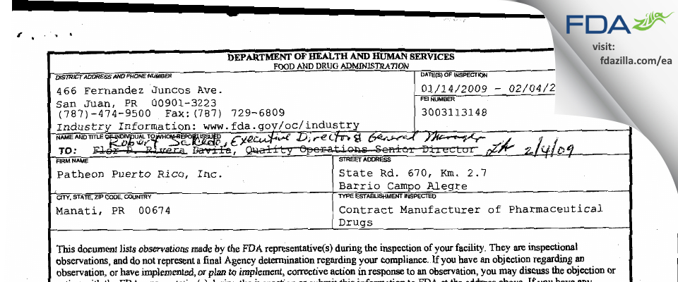 Patheon part of Thermo Fisher FDA inspection 483 Feb 2009