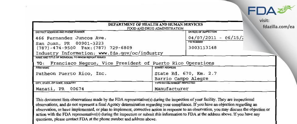 Patheon Puerto Rico FDA inspection 483 Jun 2011
