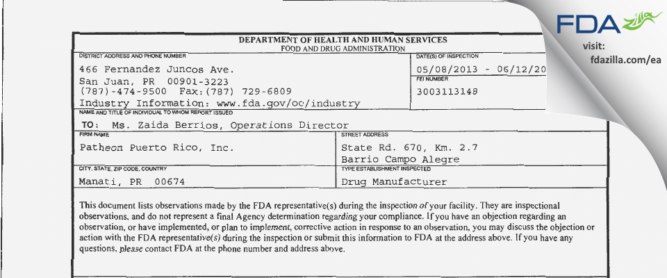 Patheon Puerto Rico FDA inspection 483 Jun 2013