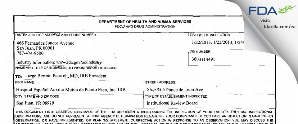 Hospital Espanol Auxilio Mutuo de Puerto Rico IRB FDA inspection 483 Jan 2013