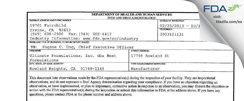 Best Formulations FDA inspection 483 Mar 2013