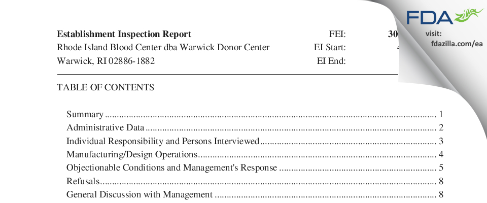 Rhode Island Blood Center, a Division of New York Blood Cent FDA inspection 483 May 2018
