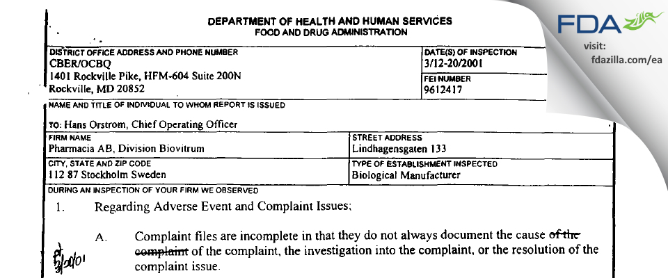 Pharmacia AB FDA inspection 483 Mar 2001