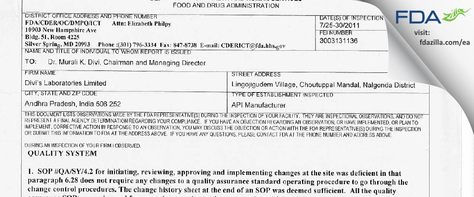 Divi's Labs Limited, Unit-1 FDA inspection 483 Jul 2011