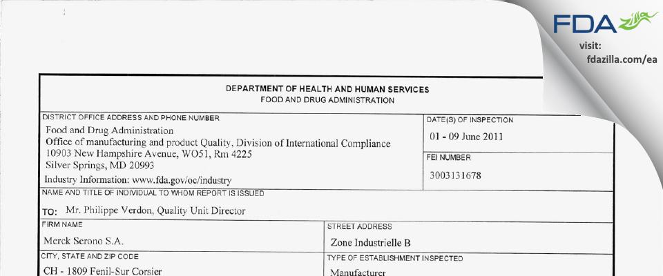 Merck Serono SA (Vevey) FDA inspection 483 Jun 2011