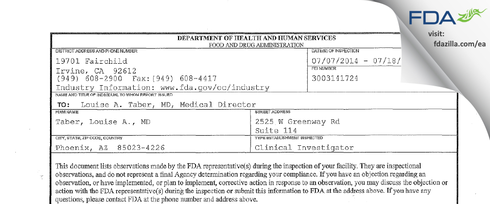 Louise Taber, MD FDA inspection 483 Jul 2014