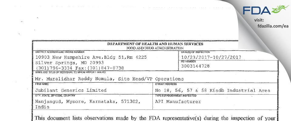 Jubilant Generics FDA inspection 483 Oct 2017