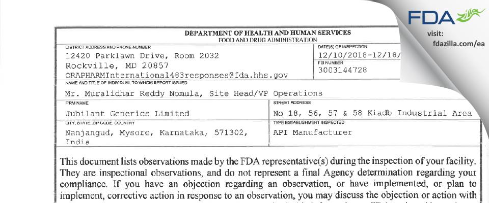 Jubilant Generics FDA inspection 483 Dec 2018