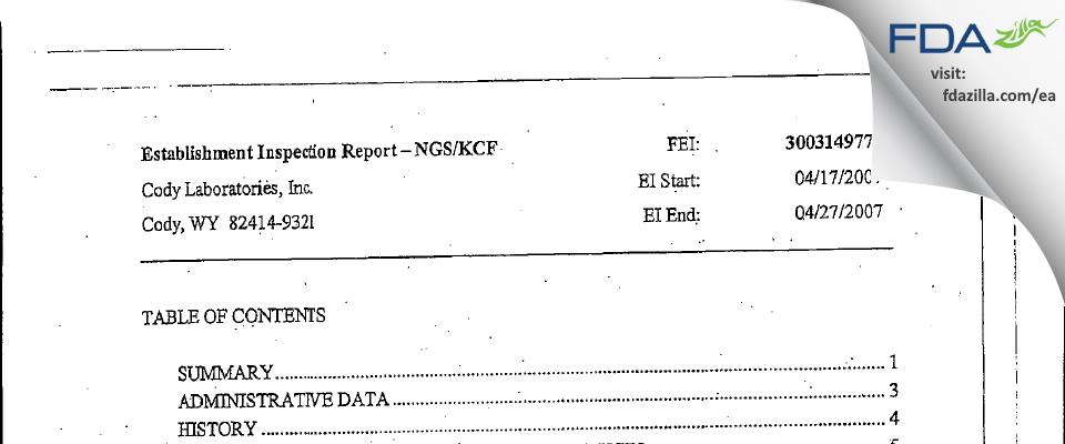 Cody Labs FDA inspection 483 Apr 2007
