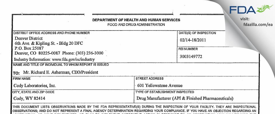Cody Labs FDA inspection 483 Feb 2011