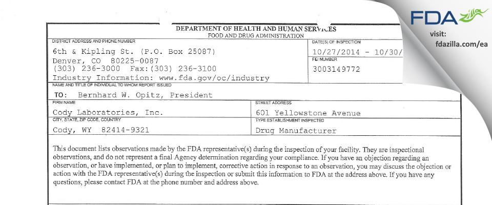 Cody Labs FDA inspection 483 Oct 2014