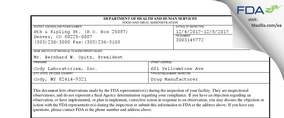 Cody Labs FDA inspection 483 Dec 2017