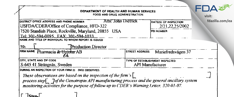 Pfizer Health AB FDA inspection 483 Feb 2002