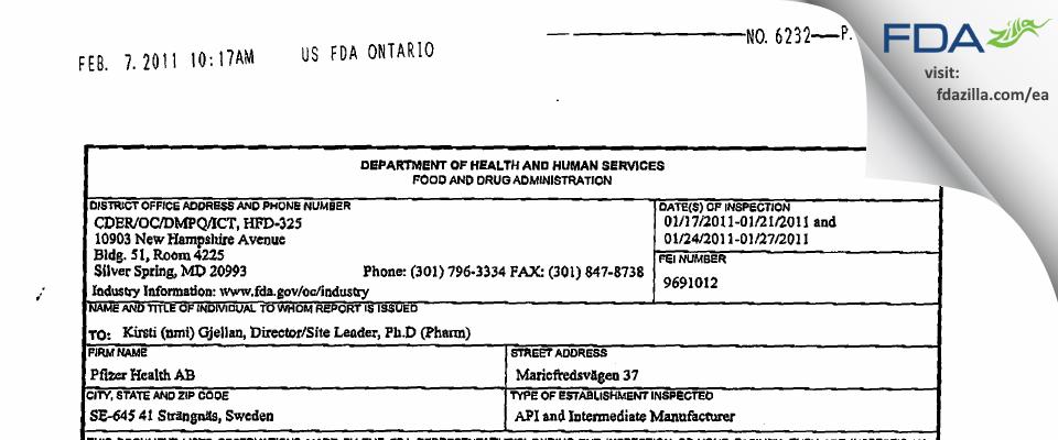Pfizer Health AB FDA inspection 483 Jan 2011