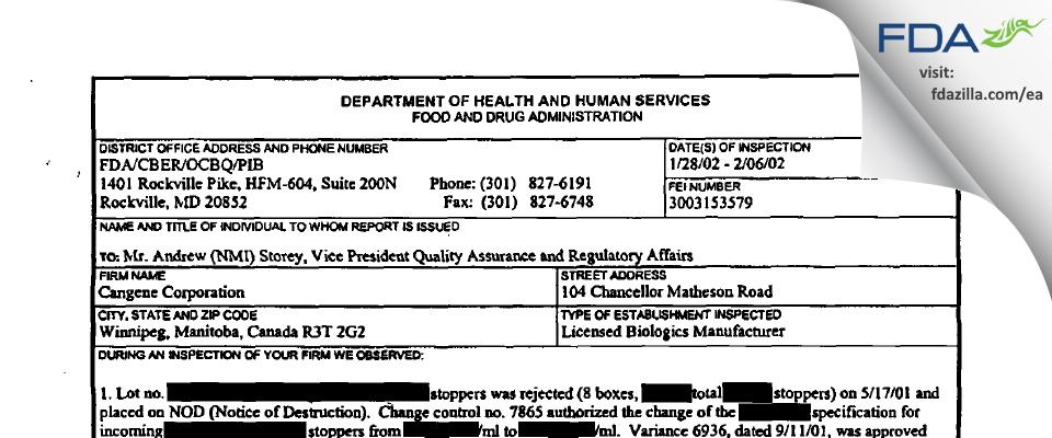 Emergent BioSolutions Canada FDA inspection 483 Feb 2002