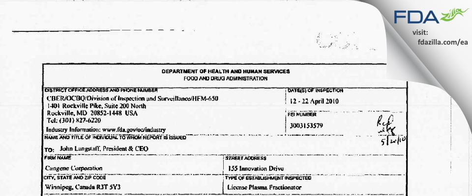 Emergent BioSolutions Canada FDA inspection 483 Apr 2010