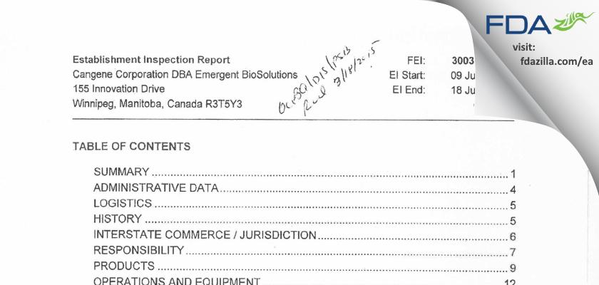 Emergent BioSolutions Canada FDA inspection 483 Jul 2014