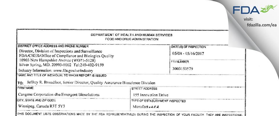 Emergent BioSolutions Canada FDA inspection 483 May 2017