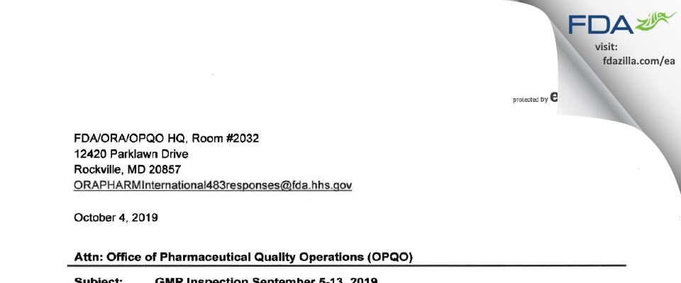 Emergent BioSolutions Canada FDA inspection 483 Sep 2019