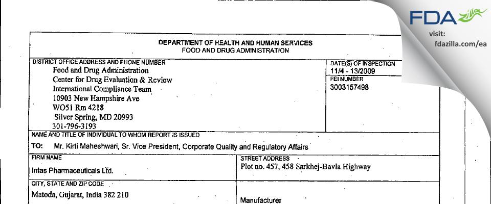 Intas Pharmaceuticals FDA inspection 483 Nov 2009