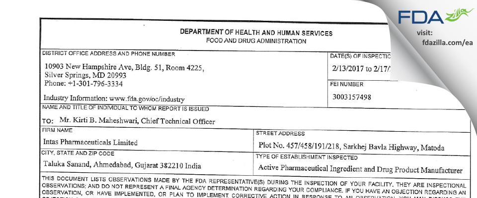 Intas Pharmaceuticals FDA inspection 483 Feb 2017