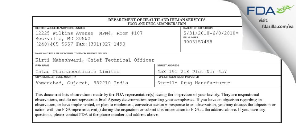 Intas Pharmaceuticals FDA inspection 483 Jun 2018