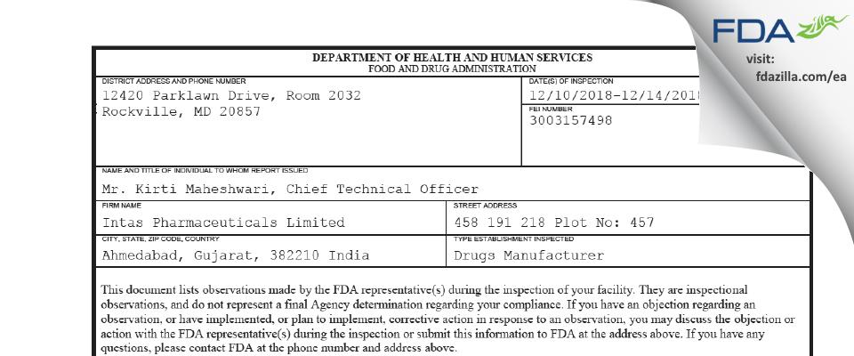 Intas Pharmaceuticals FDA inspection 483 Dec 2018