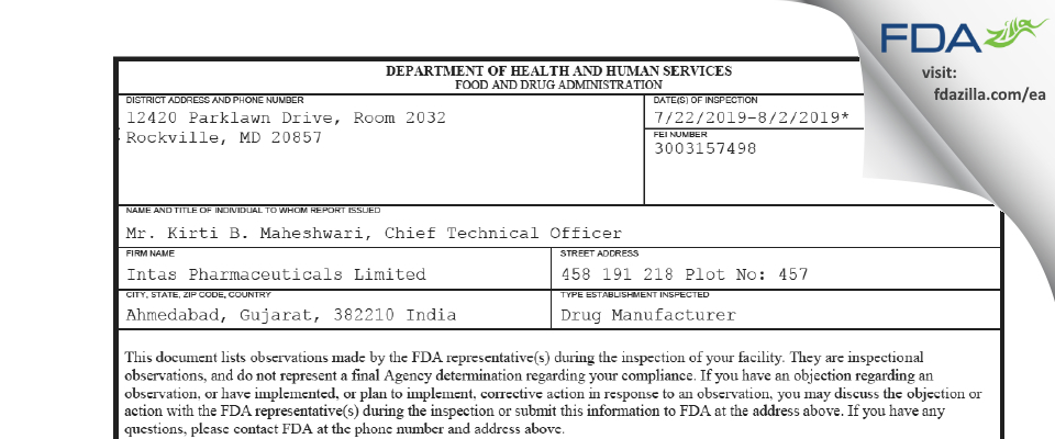 Intas Pharmaceuticals FDA inspection 483 Aug 2019