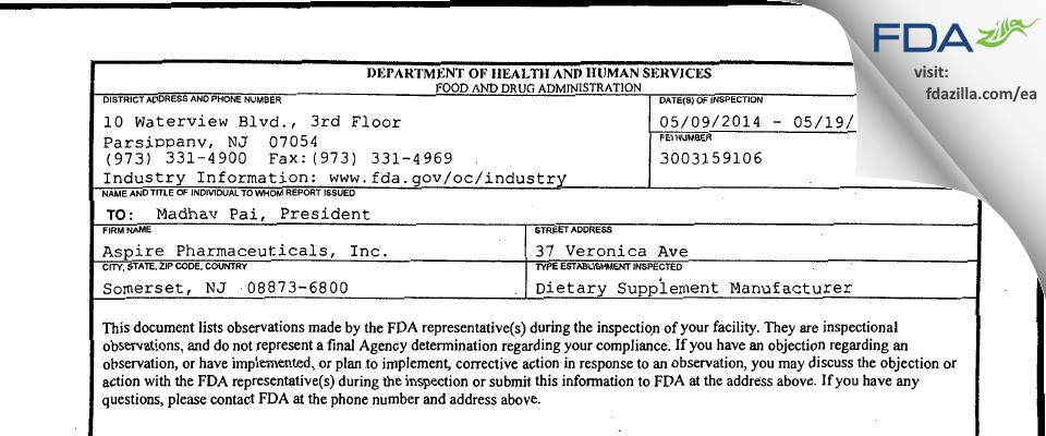 Aspire Pharmaceuticals FDA inspection 483 May 2014