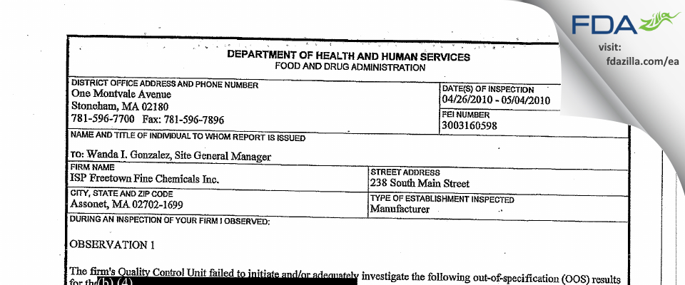 ISP Freetown Fine Chemicals FDA inspection 483 May 2010