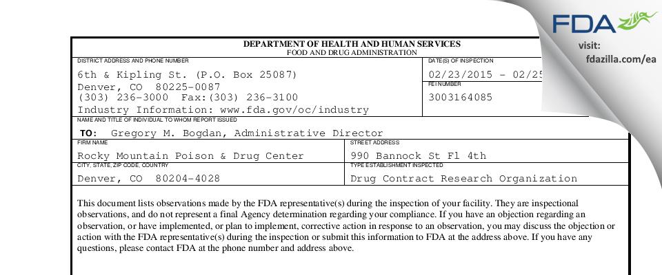 Rocky Mountain Poison & Drug Center FDA inspection 483 Feb 2015