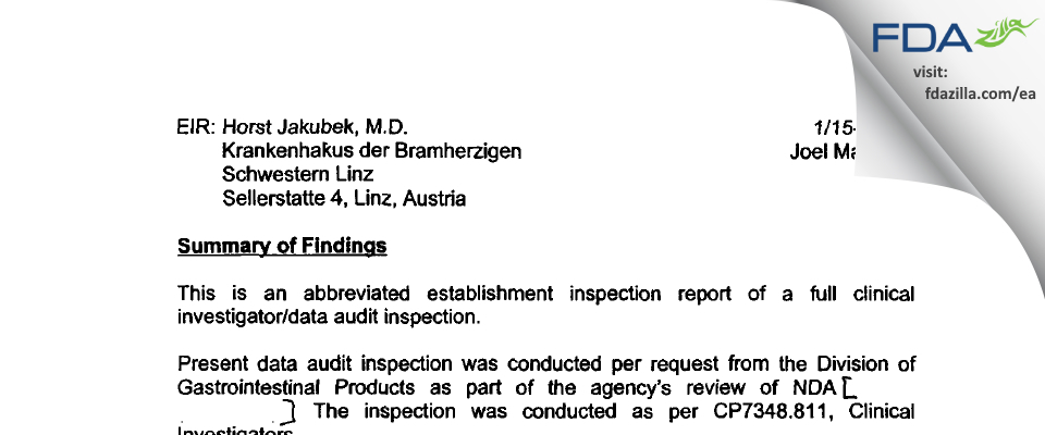 Dr. H. Jakubek FDA inspection 483 Jan 2001