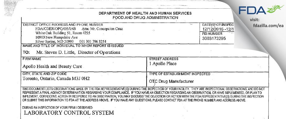 Apollo Health And Beauty Care FDA inspection 483 Dec 2016