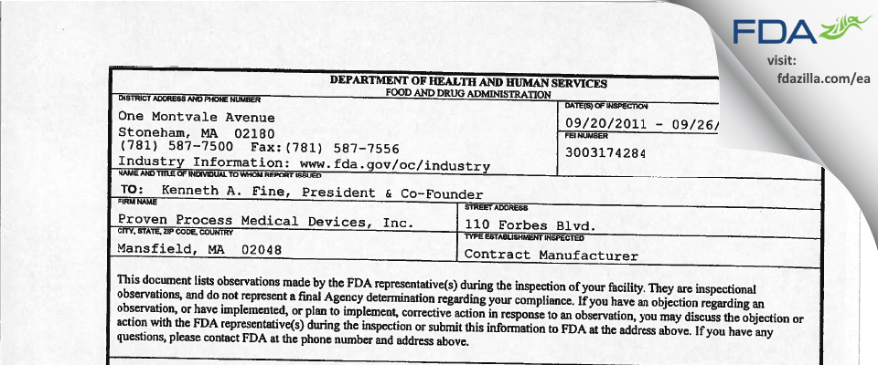 Proven Process Medical Devices FDA inspection 483 Sep 2011